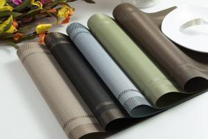 Placemats PVC Dining Table Mat Heat Insulation Stain Resistant Placemat Anti Slip Washable Woven Vinyl Pad Restaurant Plate Mats VVA300