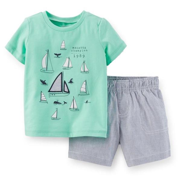 Regatta Champion Baby Boy Clothes Suit Summer T-Shirts Shorts Pants 2-Pieces Sets Sailboat Outfits Cotton Sets Tops Jumpsuits