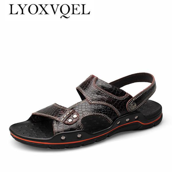 Boyutu 38-48 Erkekler Sandalet Ayakkabı Nefes Timsah Doku Terlik Yaz Tarzı Için Moda Stil Retro Gladyatör