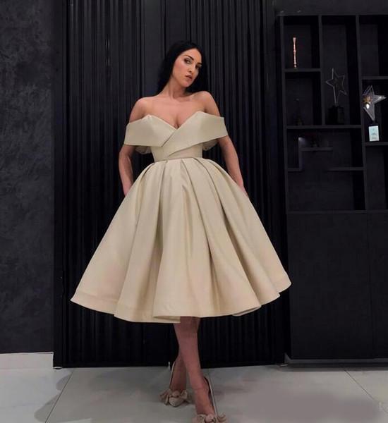Cocktailkleider Günstige Partykleid Arabisch Frauen Weg Von Der Schulter Ballkleid Tee-länge Abendkleid Nahen Osten Formale Kleider Für Besondere Anlässe