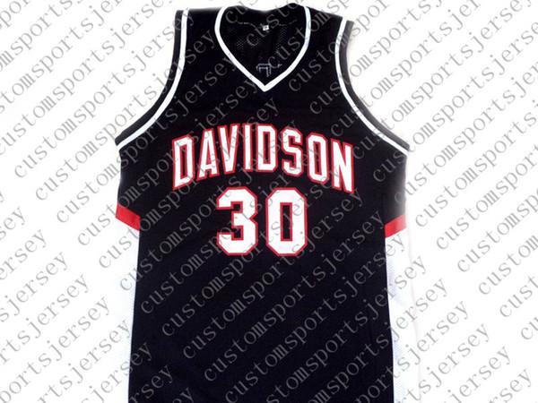 Stephen Curry gros # 30 Davidson College Basketball New Jersey Noir Cousu sur mesure un nom de nombre HOMMES FEMMES JEUNES DE BASKET MAILLOTS