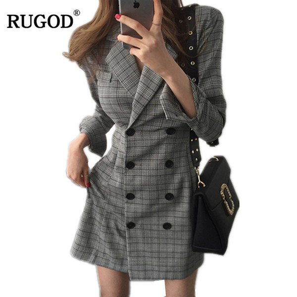 Rugod 2018 Newest Women Ol Slim Blazer Dress Female Notched Long Sleeve Plaid Business Dress Casual Long Office Work Outerwear J190601