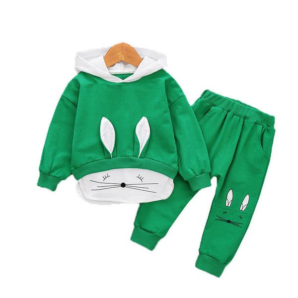 Otoño Niños Ropa Traje Niños Niños Niña Dibujos animados con capucha Camiseta Pantalones 2Pcs / sets Niño Infantil Ropa casual BabyTracksuits
