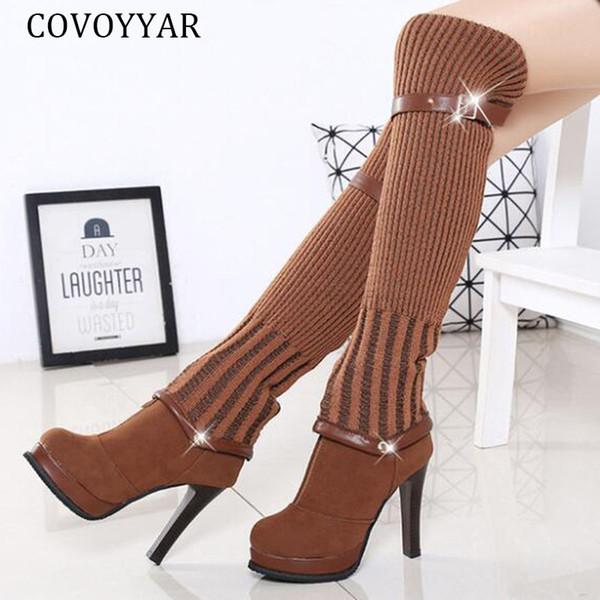 COVOYYAR 2019 Örgü Diz Yüksek Boots Moda Uzun Uyluk Yüksek Boots Kadınlar Topuklar Sonbahar Kış Kadın Ayakkabı Çift Kullanımlı WBS2041