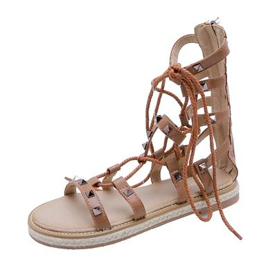 Sandals beach women's flat shoes vacation 2019 new summer wild lace strap Roman shoes