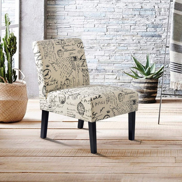 2019 Fabric Accent Chair Living Room Armless Chair With Solid Wood Legs  Beige Script Soft Home Chair Single Sofa From Greatfurnishing, $100.51   ...