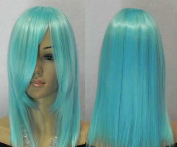 WBY perruques femmes bleu clair d'eau moyen droites