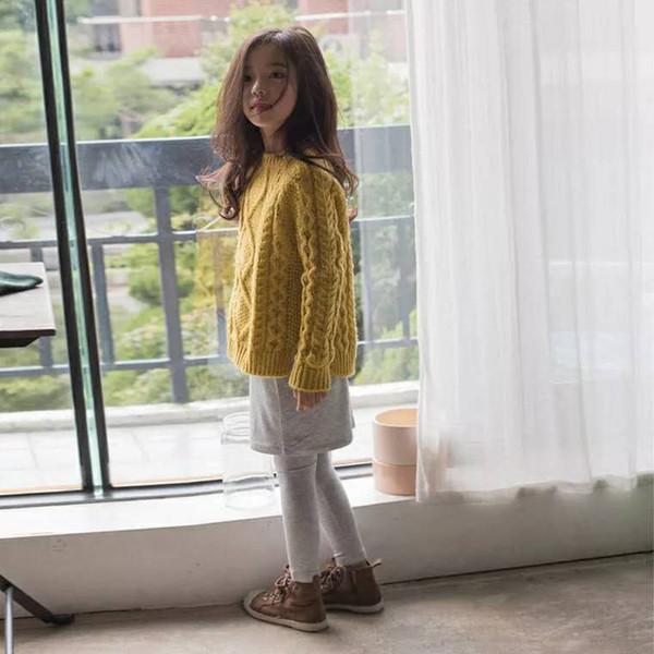 Suéter para niñas Jersey 2019 Nueva versión coreana de prendas de punto para niños de primavera y otoño Estilo extranjero Cuello redondo Torsión de diamante Línea dividida