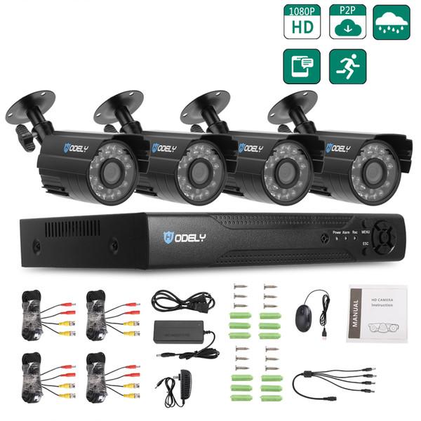 Hodely Surveillance Waterproof 4CH CCTV System Wireless 1080N H Indoor/Outdoor DVR Kit 720P 1/4 Color CMOS Camera Outdoor Camera CCTV Home