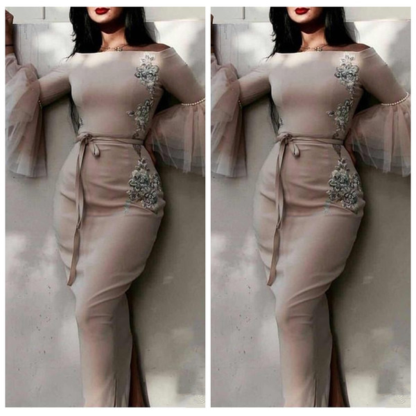 2019 Scoop Long Sleeves Sheath Prom Dresses Lace Appliques Beading Customized Formal Evening Gowns Back Split Vestidos De Soiree Middle East