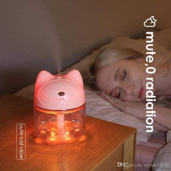 Cute Cat Claw Cup Ultrasonic Air Humidifier 150ML Night Light Diffuser Desktop Decoration Humidifier Mist Maker