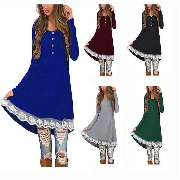 best selling Women Dress Long Sleeve Button Round Neck Mid waist Solid Color Lace Dress Casual Pullover Dress 61