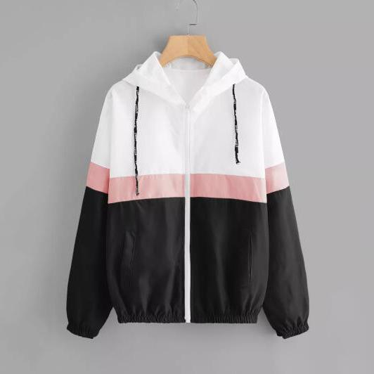 best selling Women Jackets Windbreaker Zipper Hoodies Patchwork Thin Coat Fashion Casual Outerwear Street Spring Sports Jackets
