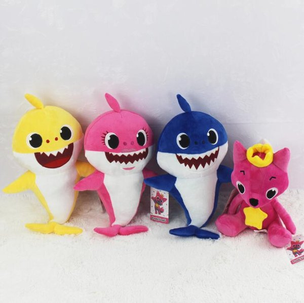 Baby Shark Plush Toys Cartoon Shark Fox Stuffed Doll Without Music Children Baby Animal Gift Novelty Items 100pcs OOA6341