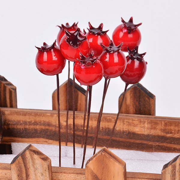 300pcs MOQ Small Artificial Pomegranate Single Cherry Shaped Fake Foam Berry on Wire Stems for Christmas Tree Berry Wreath Decorations