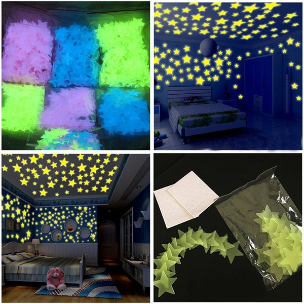 50PC Glow In The Dark Star Wall Stickers 100Pcs Round Dot Kids Bedroom Fluorescent Glow In The Dark Snowflake Wall Stickers