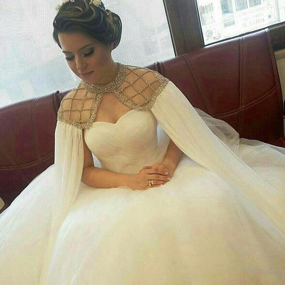 Discount Saudi Arabic Cape Style Wedding Dresses Beaded Tulle