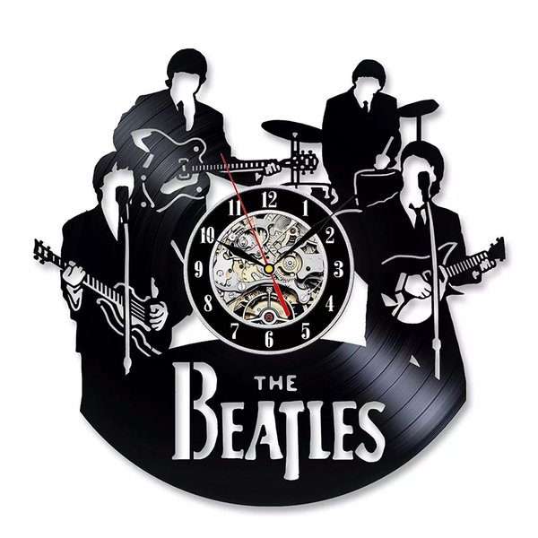 Best Gift For Christmas Festival Vintage Vinyl Record Wall Clock Gift With Beatles Theme Music Band Fans 12''