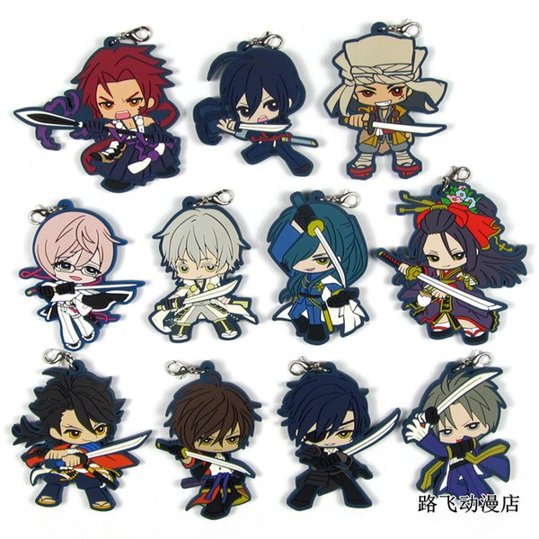 Touken Ranbu Online Original Japanese anime figure rubber Silicone sweet smell mobile phone charms key/chain/strap