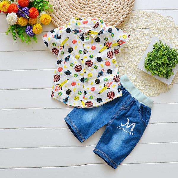 BibiCola Summer Baby Boy Clothes Set Cartoon Planet Tops+Short Pants Outfit Set Children Baby Boys Clothing Set Kids Clothes