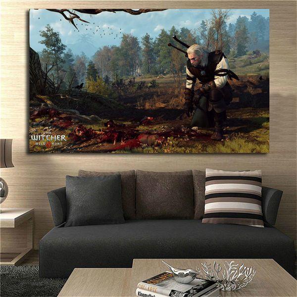 Le Sorcier 3 Chasse Sauvage Suivi Toile Peinture Salon Chambre Décor À La Maison Moderne Mur Art Peinture Affiche Photo Pour Salon Accessoires