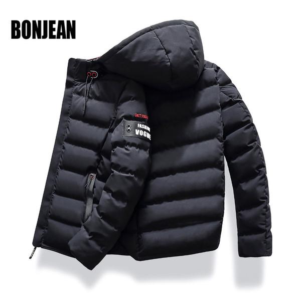 2019 Casual Fashion Mens Winter Jackets And Coats England Style Hoodie Short Coat Mens Parka Jacket Zipper Warm Thick Clothing
