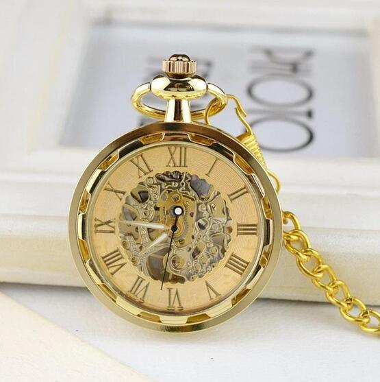Golden mechanical pocket watch Korean trend gold-plated transparent hollow luxury watch Personality without cover for men and women m1