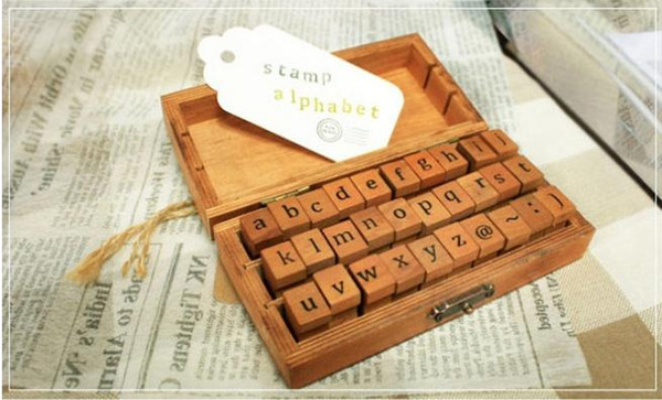 best selling Fast Shipping Wholesale Creative Lowercase Uppercase Alphabet Wood Rubber Stamps Set With Wooden box,50sets lot SN2635
