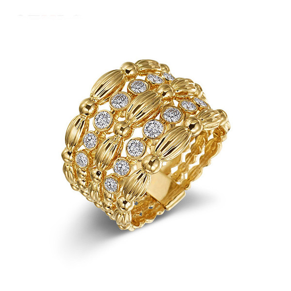 Gold color CZ hollow Multi-layer finger rings for women brand Wide ring Gilrs party jewelry ladies Wedding Bague