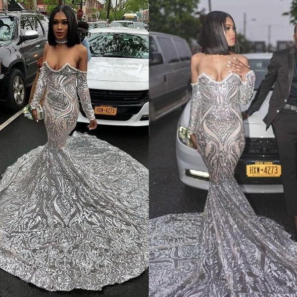 Luxury African Nigerian Style Silver Mermaid Prom Dresses New 2019 Bling Pattern Sequin Paillette Lace Sweetheart Off Shoulder Evening Gowns