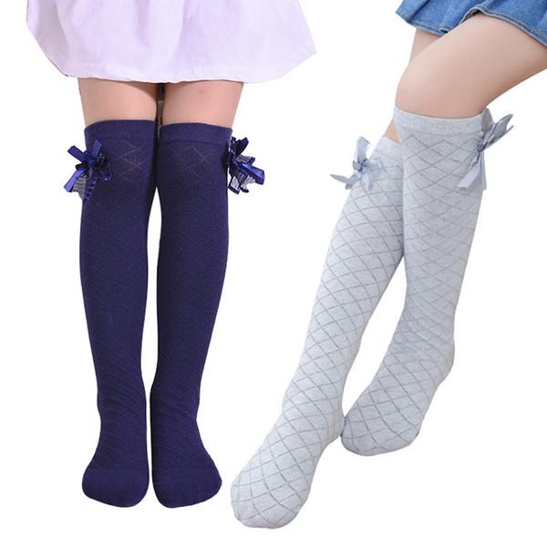 Meninas Meias Na Altura Do Joelho Alta Bowknot Xadrez Estilo Crianças Causal Elastic Socks Cores Sólidas Para 3-12 Anos Meninas