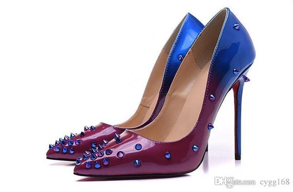 Roxo e Azul Afilado Solto com Spikes Red Bottom Salto Alto Mulheres Sapatos 12 cm de Salto Alto Das Senhoras Sapatos Femininos Baixo Calçado Bombas