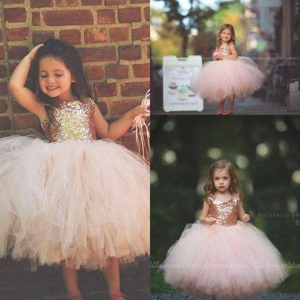 Blush Pink Tutu Toddler Infant Flower Girls Dresses Sparkly Rose Gold Sequins Little Princess First Communion Wedding Party Dress