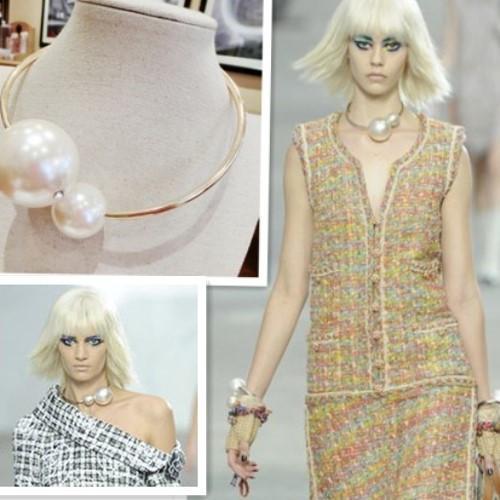 Envío gratis 2018 nuevos accesorios de joyería de moda royal Punk doble deslizador perla collar de diseño corto brazalete femenino oro mujer