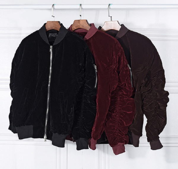 Winter Warm Fashion Bomber Jacket FEAR OF GOD Long Sleeve Solid Black Wine Red Men Jackets with Zipper