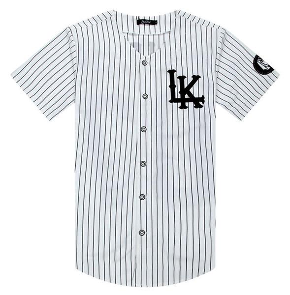 Summer White Stripe Shirts Jersey Last King LK Hip Hop Men Women Couples Active Cotton Shirts Tees Plus Size M-XXL