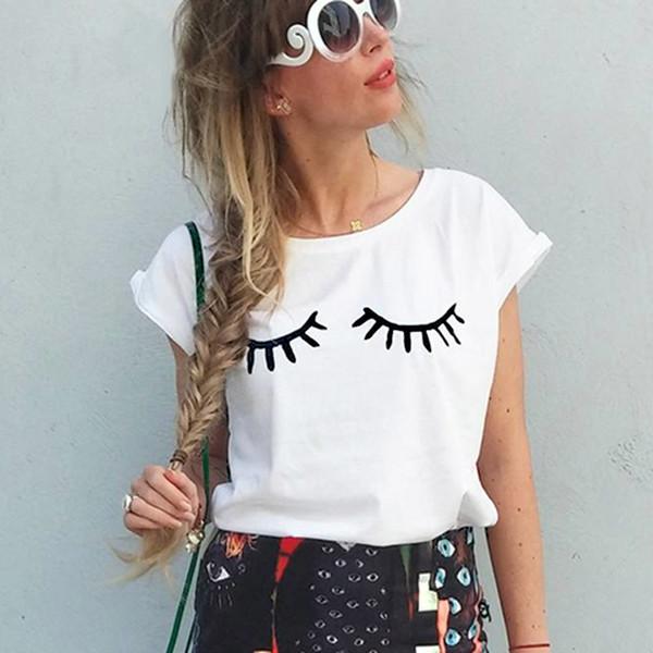Komik 2019 Yeni Yaz Kısa Kollu Kirpikler T-shirt Sevimli Gözler Casual Tops Tees Harajuku Baskı T-shirt