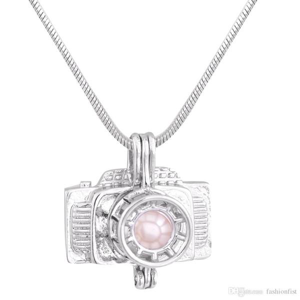 Nueva llegada de la forma de la cámara 18 k chapado en oro perla jaula colgantes DIY Oyster Pearl collar colgantes joyas medallones