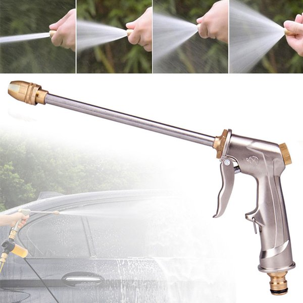 Placcatura in metallo lega di alluminio resistente Attrezzo da giardino Jet ugello lungo spruzzo ad alta pressione multifunzionale potente Watering Water Gun