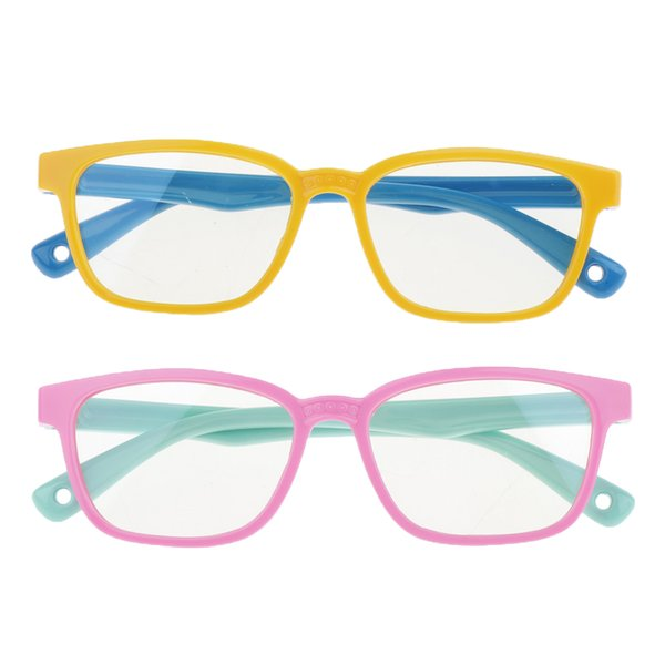 best selling 2 Pack Kids Eyeglasse Blue Light-blocking Bendable Frame Children Glasses Unisex