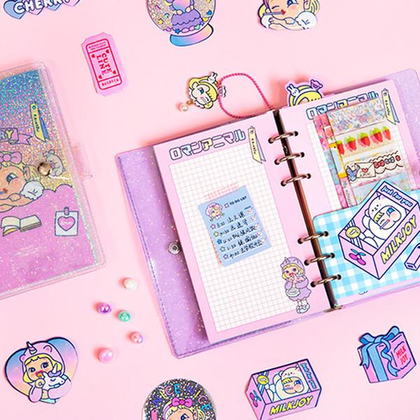 Kawaii Lollipop Girl starlight NoteBook cute Note Book Traveler Diary Planner Notepad A6 Korean stationery Notebook Journal