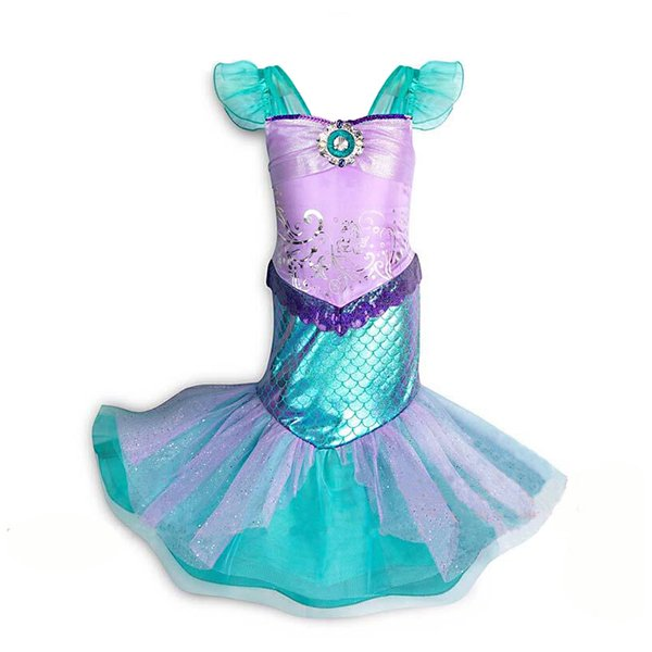 2019 Party dress mermaid princess costume tail dress girls outfits kids New Year dance dress cosplay costume