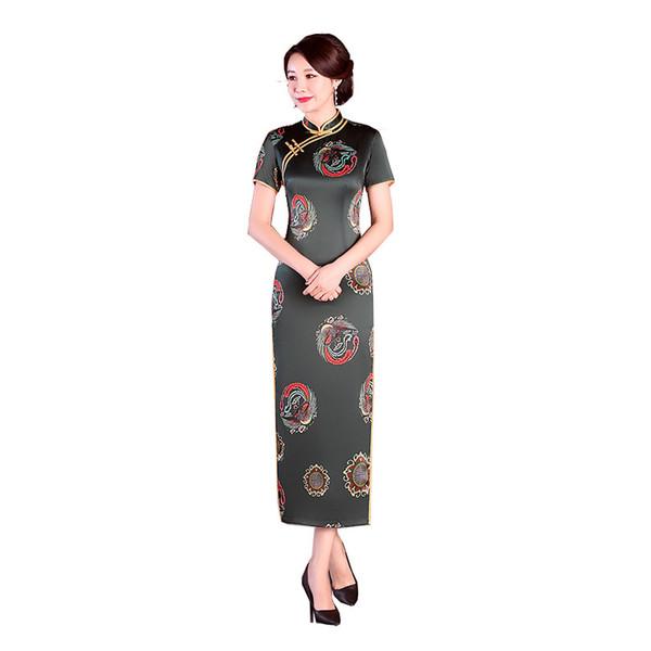 New Fashion Ladies manica corta cinese tradizionale abiti fatti a mano pulsante Qipao mandarino collare Cheongsam sexy Plus Size M-5XL