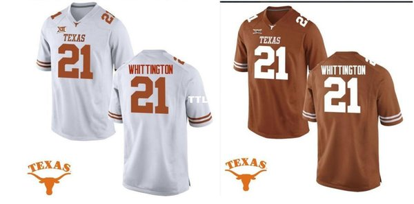 Men Texas Longhorns J. Whittington #21 real Full embroidery College Jersey Size S-4XL or custom any name or number jersey