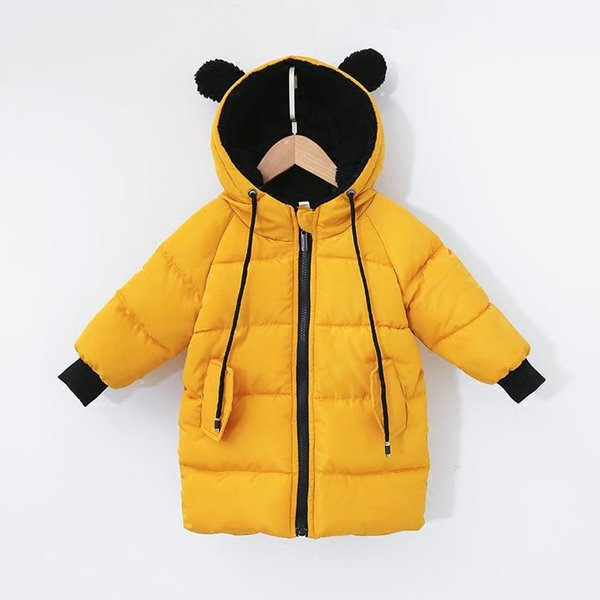 Thickest Warm Winter Parkas Thermal Cotton Coat Christmas Unisex Kids Bear Hooded Fur Collar Long Outerwear Baby Boy Girl Parka