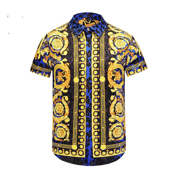 18-19 Men's Shirt French Street Luxury Fashion Harajuku Casual Shirt Men's Mixed Color Embroidered Medusa Black Golden Leopard Print Leopard