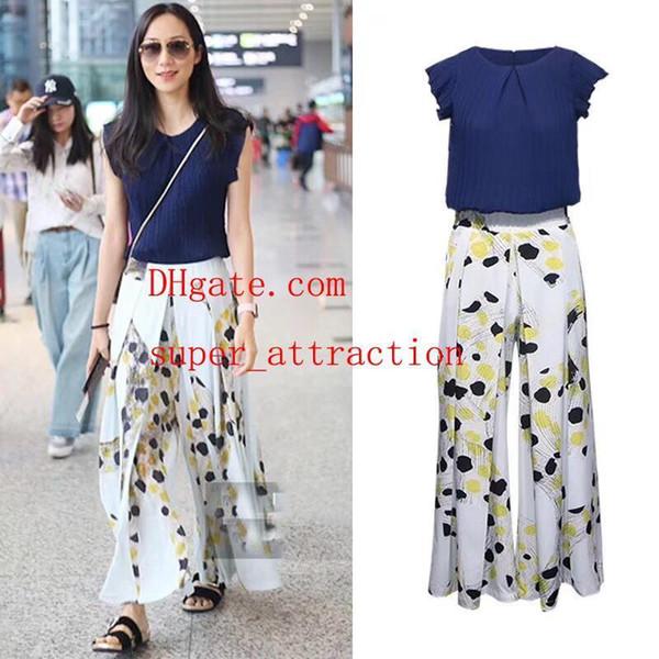 Markensommer kleidet zweiteilige Sommerausstattungsfrauen zweiteilige Hosensätzefrauen übersteigt neue Art und Weise weitbeinige Hosenfrauen Kleidung MA-46