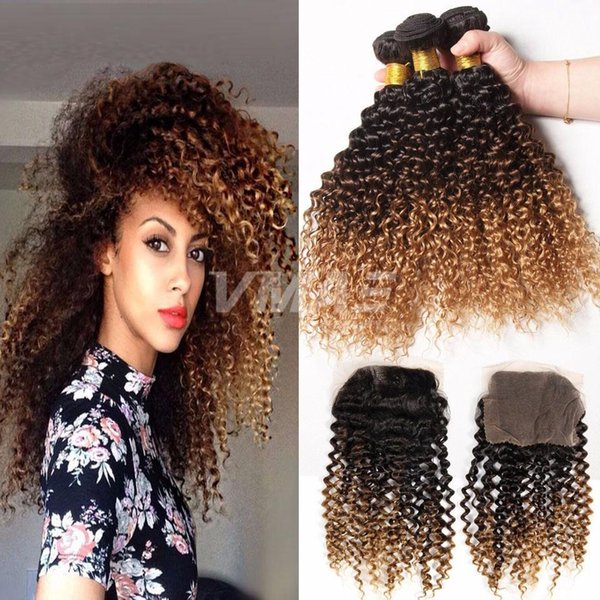 3 Bundles 1B/4/27 Ombre Brazilian Kinky Curly Hair With 4x4 lace Closure Three Tone Hair Weave With Free Part Lace Closure