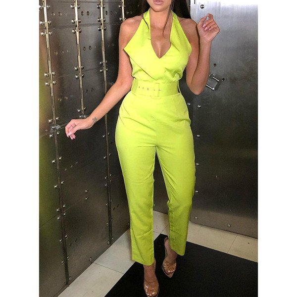 Belted Halter Jumpsuit For Women 2019 Sleeveless High Waist Pants Long Jumpsuits Sexy V Neck Rompers Bodysuit Womens Overalls MX190726