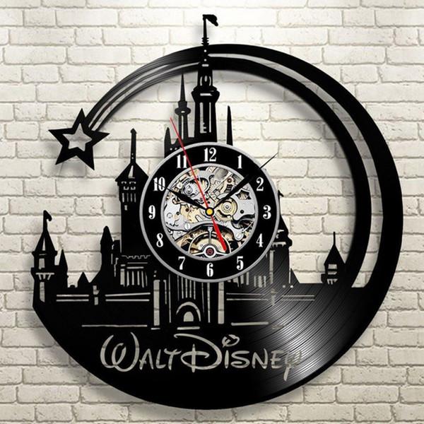 Disco de vinilo para niños Reloj de pared de diseño moderno Dormitorio decorativo Relojes de dibujos animados negro Reloj de pared Decoración para el hogar Regalo para niños